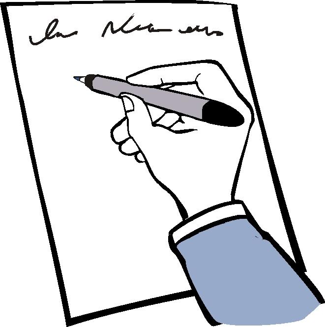 eine Hand schreibt auf einem Blatt Papier