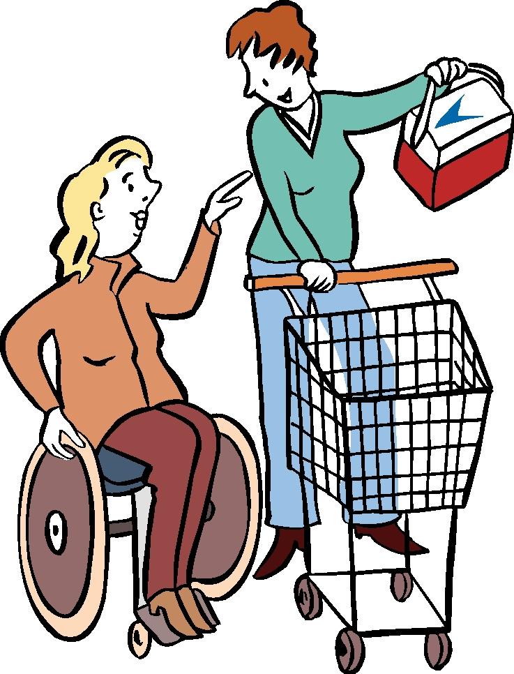 Assitenz hilft Rollstuhlfahrerin beim Einkauf